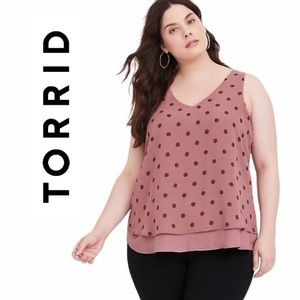 Torrid Polka Dot Layered V Neck Sleeveless Tank